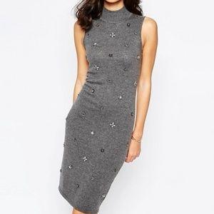 ASOS Warehouse Embellished Bodycon Dress Grey